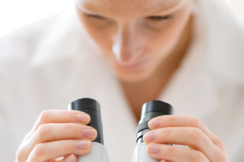 mikroskop, laborantka