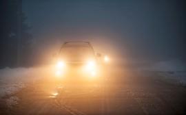 noční jízda v zimě