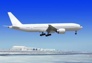 letadlo dosedá na na runway