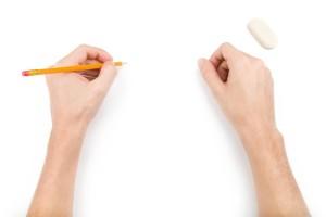 píše levou rukou