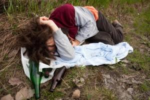 bezdomovec spí